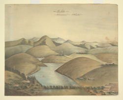 The Lake, Ootacamund.  Landscape of rolling hills, a lake with sailing boat in foreground.  October 1851